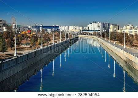 Ashgabat, Turkmenistan, January 25, 2017:  Modern Architecture Of Ashgabat. View Of The Water Channe