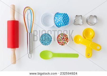 Baking Utensils On White Background