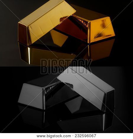 Gold Bullion And Silver Bars On A Black Background