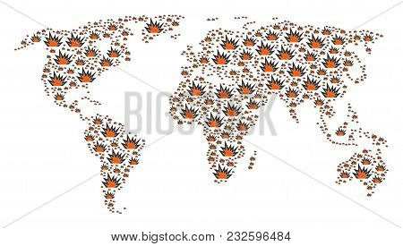 International Atlas Pattern Done Of Explosion Boom Design Elements. Vector Explosion Boom Pictograms