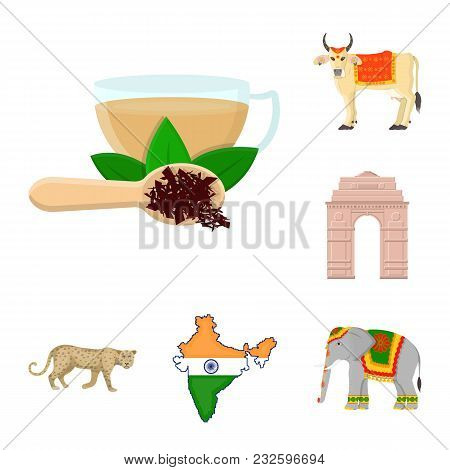 Country India Cartoon Icons In Set Collection For Design.india And Landmark Vector Symbol Stock  Ill