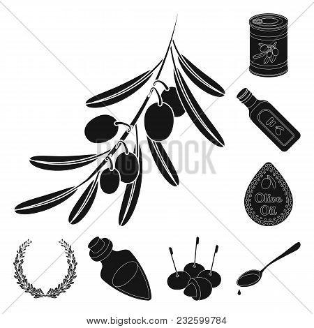 Olive, Food Black Icons In Set Collection For Design. Olive Oil, Seasoning Vector Symbol Stock  Illu