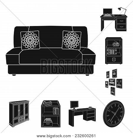 Furniture And Interior Black Icons In Set Collection For Design. Home Furnishings Vector Isometric S