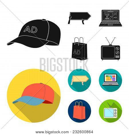 Baseball Cap, Pointer In Hands, Laptop, Shopping Bag.advertising, Set Collection Icons In Black, Fla