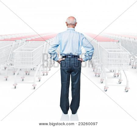 standing man rear view and 3d trolley