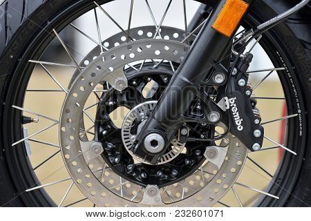 Kaunas, Lithuania - March 23: Brembo Brakes Close Up On Motocycle On 23 March, 2018 In Kaunas, Lithu
