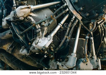 Close Up Of Detailed Old Jet Aircraft Engine With Rustry And Grunge For Vintage Retro Airplane Engin