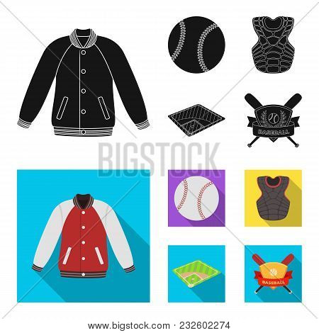 Playground, Jacket, Ball, Protective Vest. Baseball Set Collection Icons In Black, Flat Style Vector