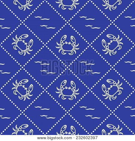 Seamless Pattern With Crabs And Waves. Design For Banner And Print.