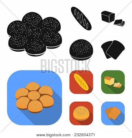 Cut Loaf, Bread Roll With Powder, Half Of Bread, Baking.bread Set Collection Icons In Black, Flat St