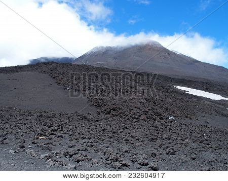 Mount Etna, Abandoned Fuming Crater In Sicily At Italy, Landscapes Of Tallest Active Volcano In Euro