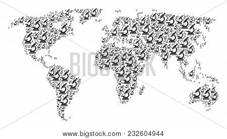 Global Geography Map Pattern Created Of Microscope Icons. Vector Microscope Elements Are Organized I