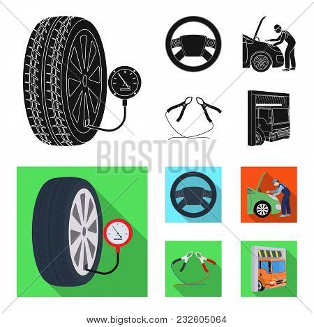 Engine Adjustment, Steering Wheel, Clamp And Wheel Black, Flat Icons In Set Collection For Design.ca