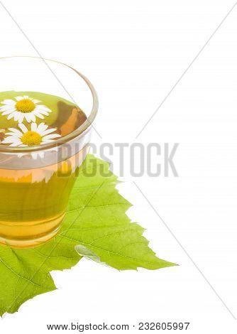 Herbal Camomile Tea Isolated On White Background. Kamillentee In Glas Tee Tasse
