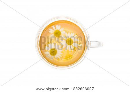 Herbal Camomile Tea Isolated On White Background. Herbal Chamomile Tea