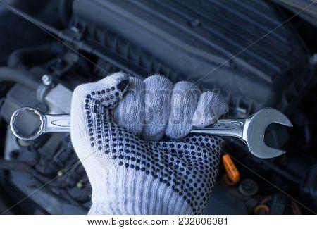 Mechanic At Work > Fixing Automotive Engine -  Tools Key