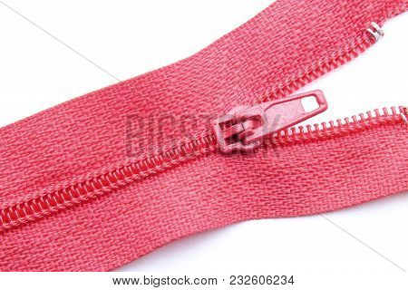 Red Zipper Closeup Isolated On White Background