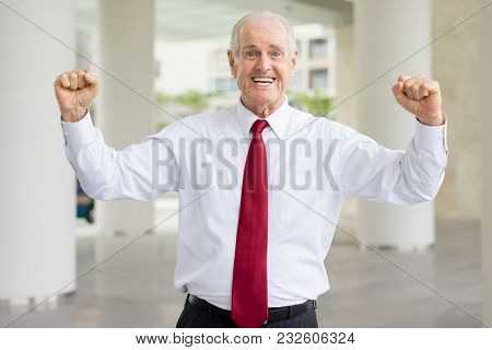 Closeup Portrait Of Cheerful Senior Business Man Looking At Camera, Pumping Fists And Celebrating Su