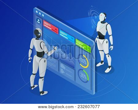 Isometric Robot Working With Digital Display. Robot Program Another Robot. Artificial Intelligence H