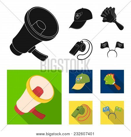 Megaphone, Whistle And Other Attributes Of The Fans.fans Set Collection Icons In Black, Flat Style V