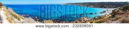Panorama Of Sandy Beach Fig Tree Bay Coast In The Mediterranean Sea Landscape On Cyprus Island
