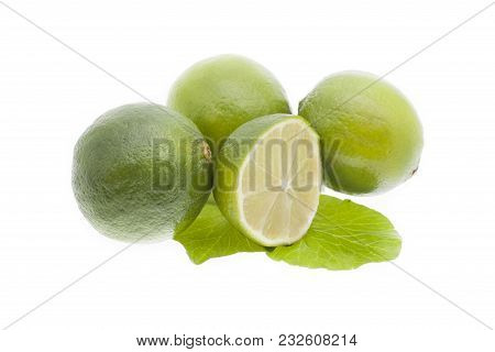 Fresh Lime White Background. Lime With Section On A White Background