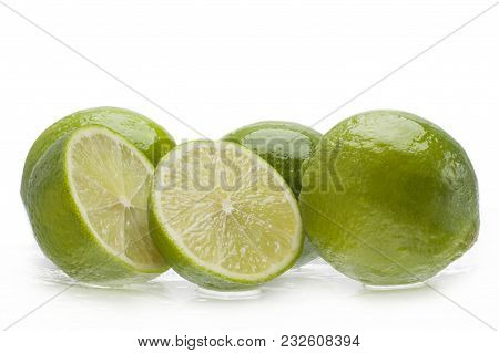 Fresh Lime With Section On A White Background