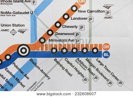 Washington Dc, Usa - June 7: Washington Dc Metro System Map. Part Of The United States Capital City