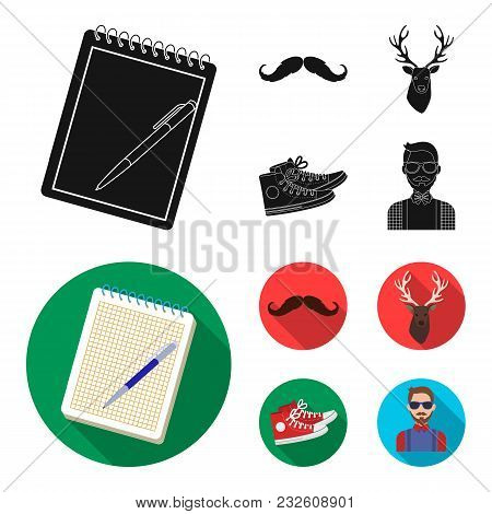 Hipster, Fashion, Style, Subculture .hipster Style Set Collection Icons In Black, Flat Style Vector