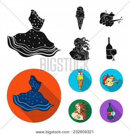 Italian Dress, Gelato, Pinocchio, Goddess Of Love. Italy Set Collection Icons In Black, Flat Style V
