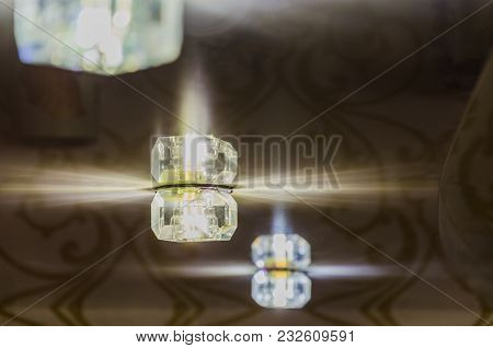 Luminous Ceiling Light. Ceiling Lighting, Rays From The Lamp.
