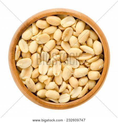 Peanuts, Roasted And Salted, In Wooden Bowl. Shelled Arachis Hypogaea, Also Called Groundnut And Goo