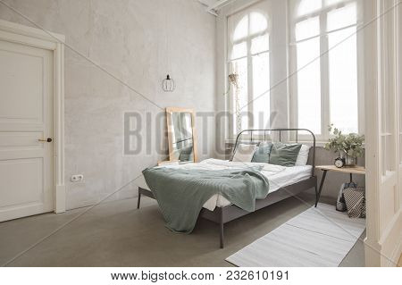Interior Bedroom Of White And Gray Cozy Bed