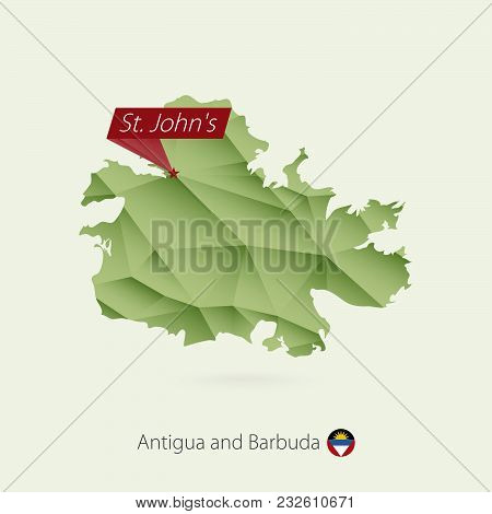 Green Gradient Low Poly Map Of Antigua And Barbuda With Capital St. John's