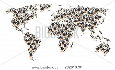 Continent Atlas Pattern Made Of Space Rocket Elements. Vector Space Rocket Elements Are Organized In