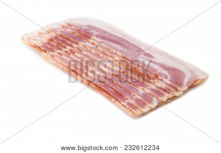 Uncooked Cured Side Bacon Slices Isolated On White Background