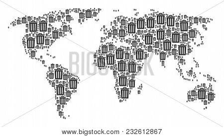 Global World Atlas Composition Made Of Trash Bin Design Elements. Vector Trash Bin Icons Are Combine