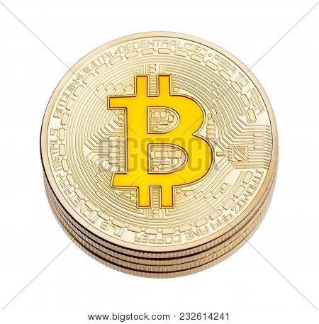 Golden Cruptocurrency Yellow Bitcoin On White Background. High Resolution Photo.