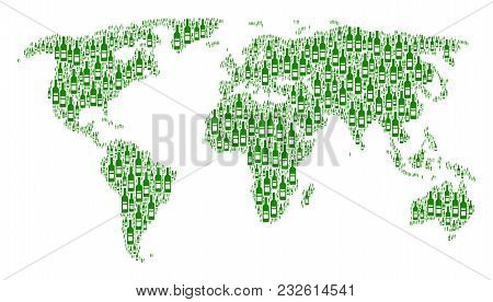 International Map Concept Combined Of Wine Bottle Icons. Vector Wine Bottle Elements Are United Into