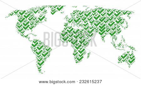Global World Map Collage Designed Of Yes Elements. Vector Yes Elements Are Combined Into Mosaic Eart