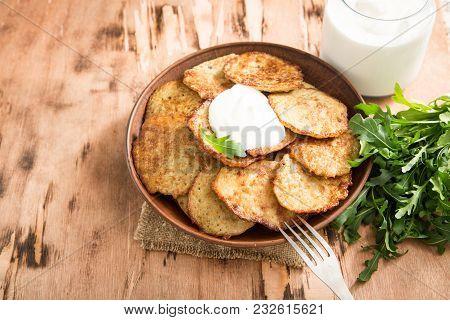 Draniki - Potato Fritters. Potato Pancakes. The Naitonal Dish Of Belarus, Ukraine And Russia.