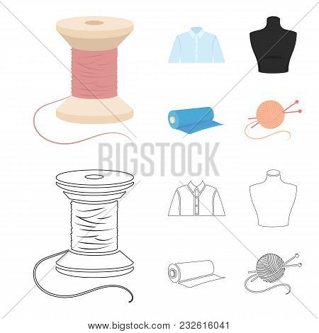 A Man Shirt, A Mannequin, A Roll Of Fabric, A Ball Of Threads And Knitting Needles.atelier Set Colle