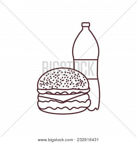 Burger And Bottle Of Soda Water. Harmful Eating Habits. Design For Banner And Print.