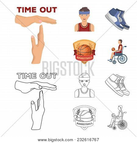 Basketball And Attributes Cartoon, Outline Icons In Set Collection For Design.basketball Player And