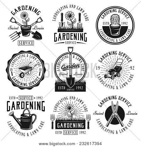 Gardening Service, Landscaping And Lawn Care Set Of Nine Vector Black Emblems, Badges, Labels Or Log