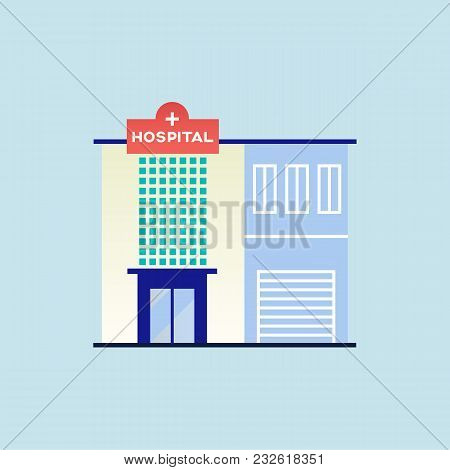 City Hospital Building. Vector Slat Style Illustration