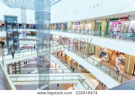 Abstract Mall, Multilevel Shopping Center, Blurred Focus. Mall Interior