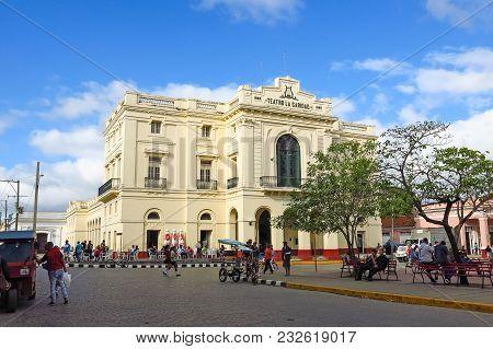 Santa Clara, Cuba - January 11, 2017: Theater Caridad. A National Monument Of Cuba Was Built In 1885