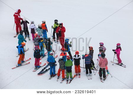 Chamonix, France. March 13, 2018: Ski School With Numerous Children In Chamonix In France. Beginners