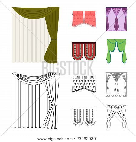 Curtains, Stick, Cornices, And Other  Icon In Cartoon, Outline Style.bow, Fabric, Tulle Icons In Set